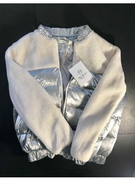 Куртка демисезонная с искусственным мехом белая
