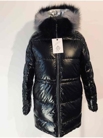 Куртка зимова жіноча - чорна, блискуча