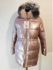Жіноча зимова куртка - перламутрового кольору, блискуча
