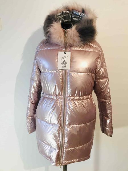 Женская зимняя куртка - перламутрового цвета, блестящая